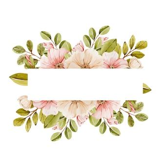 Akwarela ramki z jasnoróżowymi kwiatami