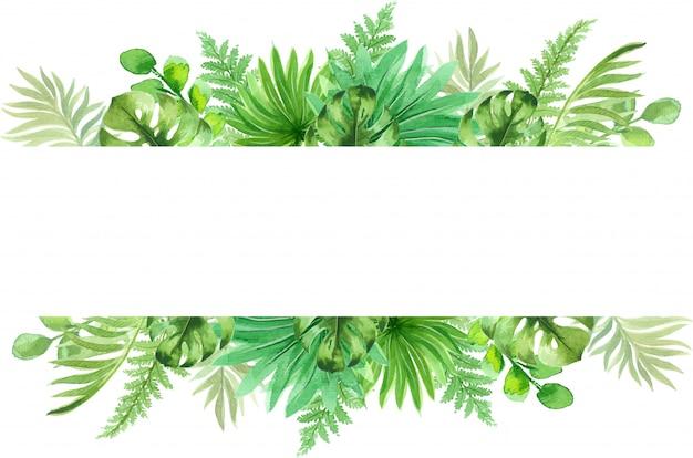 Akwarela ramki z pięknymi tropikalnymi liśćmi egzotycznych