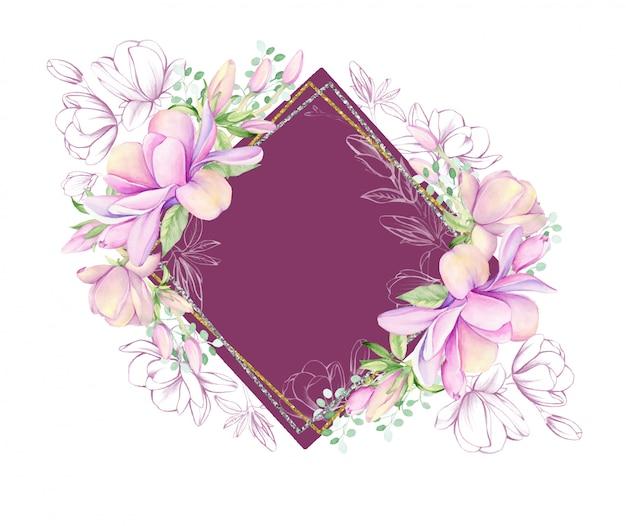 Akwarela ramki z różowy kwiat magnolii.