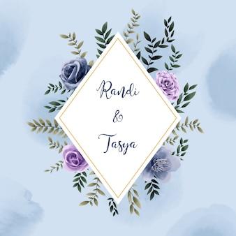 Akwarela ramki zaproszenie karta ślubu kwiatowy styl vintage