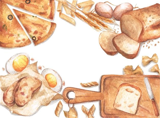 Akwarela ramki żywności z pieczonymi produktami