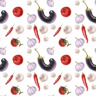 Akwarela realistyczne świeże jedzenie wegetariańskie wzór