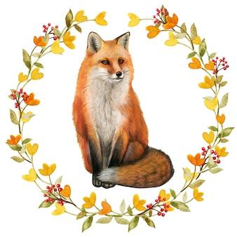 Akwarela realistyczny czerwony lis w jesiennym wieńcu