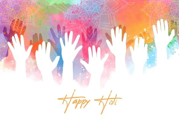 Akwarela ręce festiwalu holi