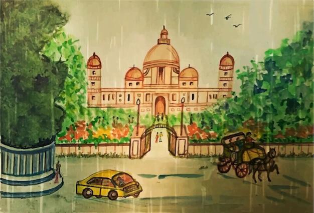 Akwarela ręcznie malowana ilustracja historyczny meczet