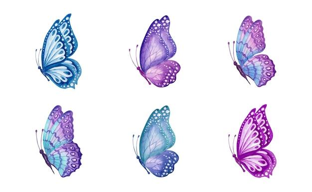 Akwarela ręcznie malowana kolekcja wiosennych motyli