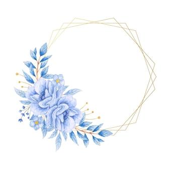 Akwarela ręcznie malowana niebieska ramka kwiatowy