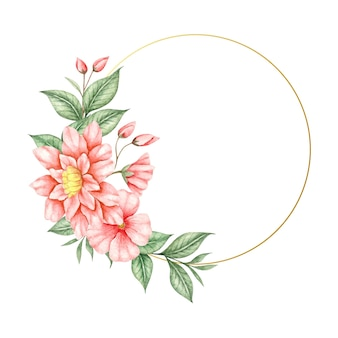 Akwarela ręcznie malowana urocza kwiecista rama