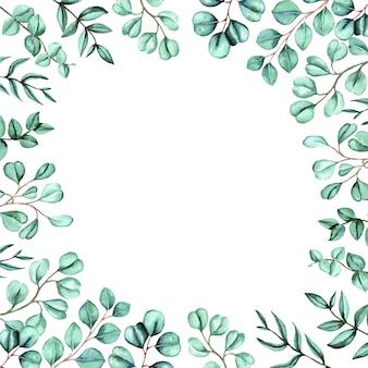 Akwarela ręcznie malowana zieloną ramką z liści eukaliptusa