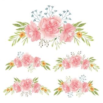 Akwarela ręcznie malowane bukiet kwiatów goździków