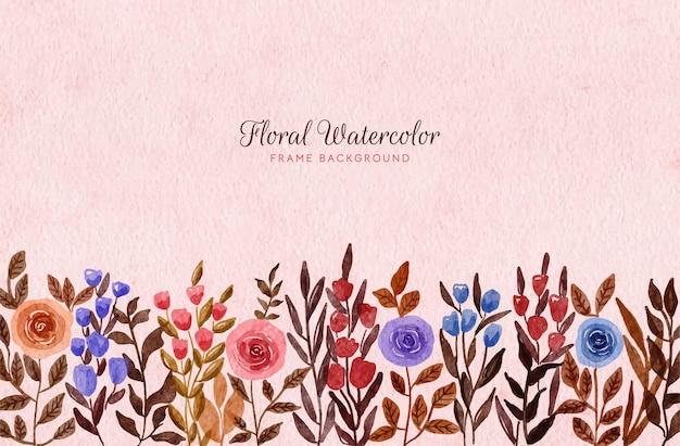 Akwarela ręcznie malowane dziki kwiatowy rama tło z tonem ziemi