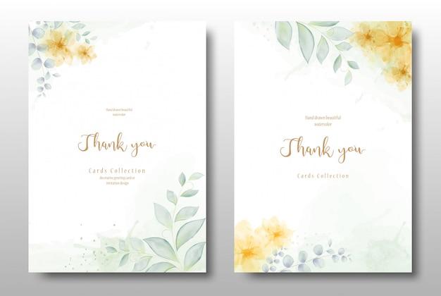 Akwarela ręcznie malowane karta kwiatowy zaproszenie
