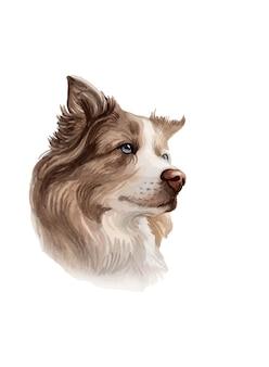 Akwarela ręcznie malowany portret psa