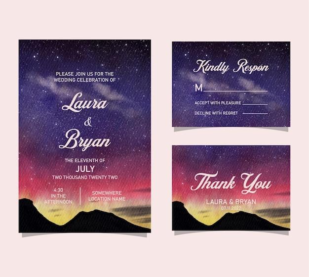 Akwarela ręcznie rysowane aurora nocne niebo zaproszenie na ślub