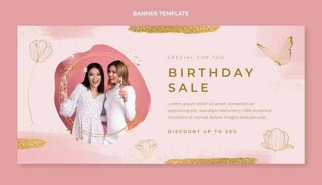 Akwarela ręcznie rysowane baner sprzedaży urodzinowej