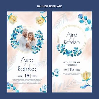 Akwarela ręcznie rysowane banery ślubne pionowe