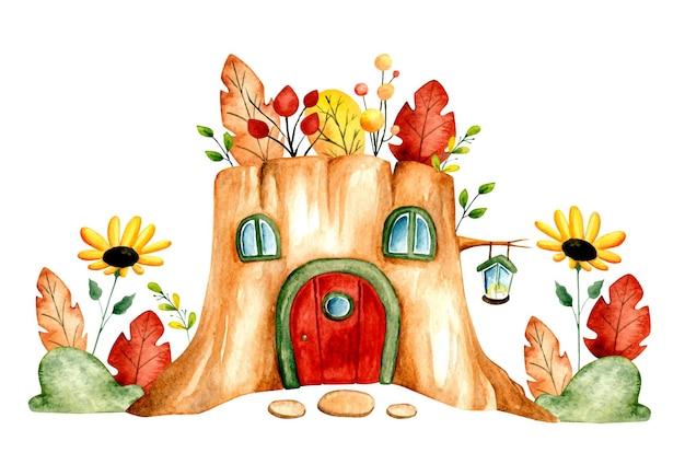 Akwarela ręcznie rysowane dom z drewna z bali