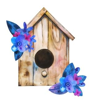 Akwarela ręcznie rysowane domek dla ptaków z niebieskim i różowym kompozycją kwiatową