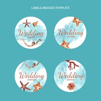 Akwarela ręcznie rysowane etykiety ślubne