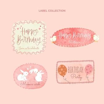 Akwarela ręcznie rysowane etykiety urodzinowe i odznaki