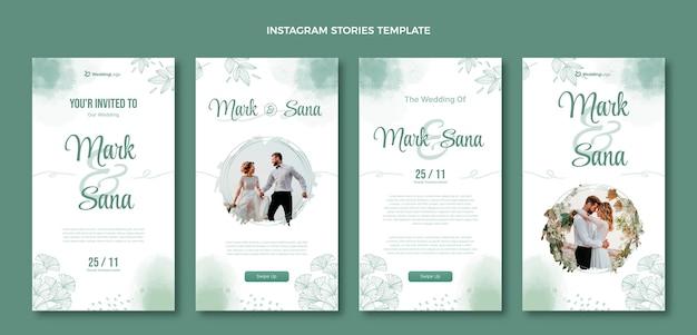 Akwarela ręcznie rysowane historie ślubne na instagramie