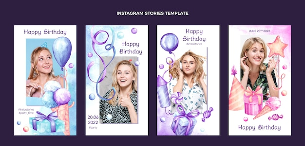 Akwarela ręcznie rysowane historie urodzinowe na instagramie