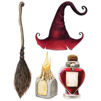 Akwarela ręcznie rysowane ikony o tematyce halloween czarownic