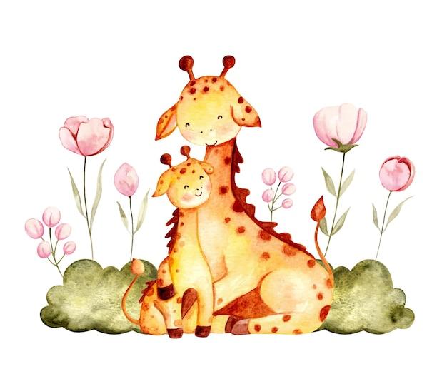Akwarela ręcznie rysowane ilustracja żyrafa dziecko i mama z kwiatem