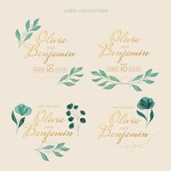 Akwarela ręcznie rysowane kolekcja etykiet ślubnych