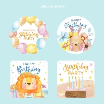 Akwarela ręcznie rysowane kolekcja etykiet urodzinowych
