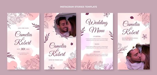 Akwarela ręcznie rysowane kolekcja opowiadań ślubnych na instagramie
