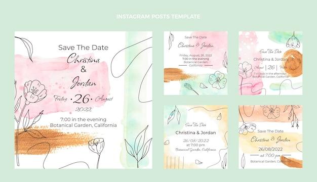 Akwarela ręcznie rysowane kolekcja postów ślubnych na instagramie