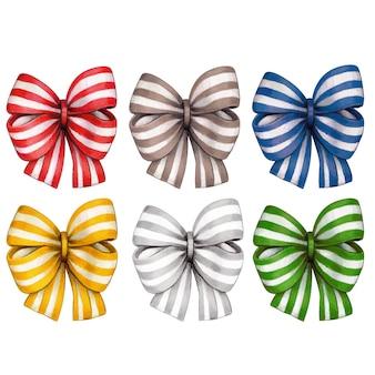 Akwarela ręcznie rysowane kolorowe kokardki w paski