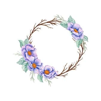 Akwarela ręcznie rysowane kwiatowy rama z suszonymi gałęziami
