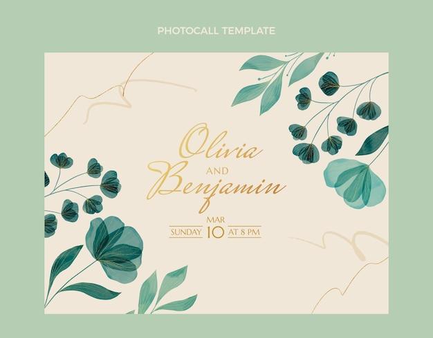 Akwarela ręcznie rysowane kwiatowy ślub photocall