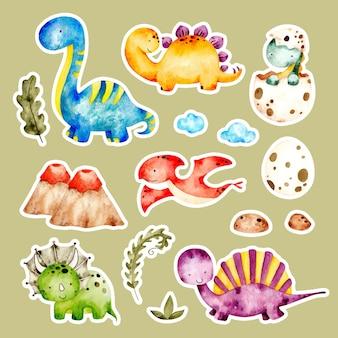 Akwarela ręcznie rysowane naklejki słodkie dinozaury