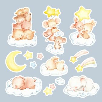 Akwarela ręcznie rysowane naklejki śpiących zwierząt