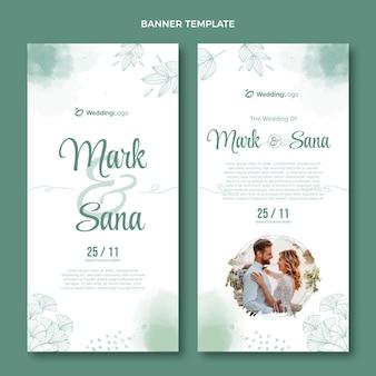 Akwarela ręcznie rysowane pionowe banery ślubne