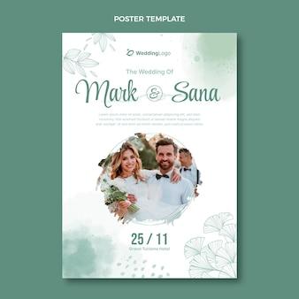 Akwarela ręcznie rysowane plakat ślubny
