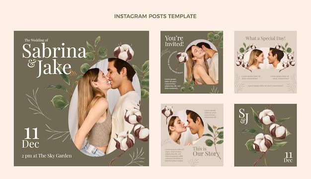 Akwarela ręcznie rysowane post na instagramie ślubnym
