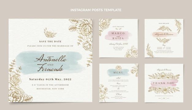 Akwarela ręcznie rysowane posty ślubne na instagramie