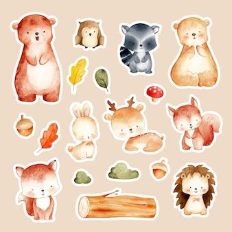Akwarela ręcznie rysowane słodkie naklejki zwierząt leśnych
