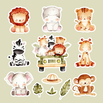 Akwarela ręcznie rysowane słodkie naklejki zwierząt safari