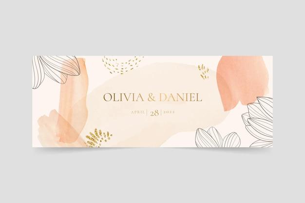 Akwarela ręcznie rysowane ślubna okładka na facebook