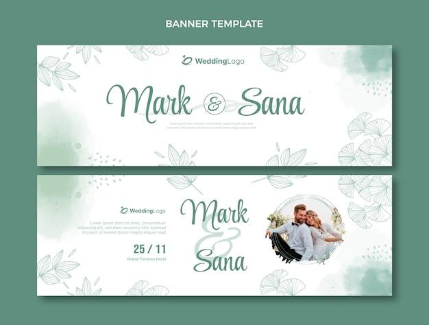 Akwarela ręcznie rysowane ślubne poziome banery