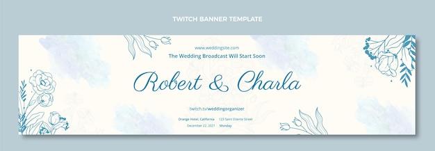 Akwarela ręcznie rysowane ślubny baner twitch