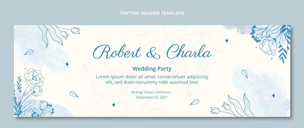Akwarela Ręcznie Rysowane ślubny Nagłówek Twittera Darmowych Wektorów