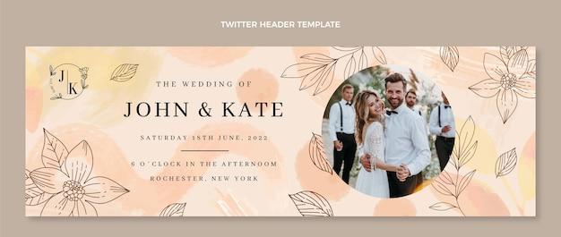 Akwarela ręcznie rysowane ślubny nagłówek twittera