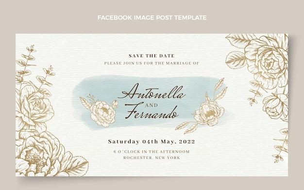 Akwarela ręcznie rysowane ślubny post na facebooku