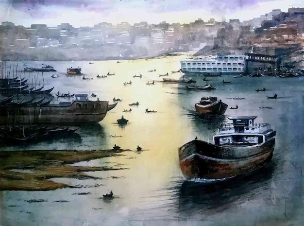Akwarela ręcznie rysowane statek i łódź na ilustracji plaży morskiej